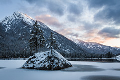 Burning Alps (Fabian Fortmann) Tags: hintersee bayern bavaria germany deutschland snow ice winter schnee sunset sonnenuntergang sky tree mountain lake alps berge alpen