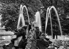 Fountain (bobobahmat) Tags: 2007 lviv lvov ukraine street city town rock stone fountain water monochrome mono bnw bw black white blackandwhite blackwhite blacknwhite
