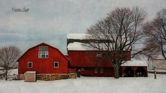 Lehigh Valley Farm (socalgal_64) Tags: architecture usa carolynlandi barn farm shed house structures lehighvalley pennsylvania texture colorful redbarn red winter picturesque landscape scene pennsylvaniadutch stone farmland america americana rural rustic coth5
