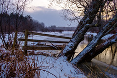 down to the river (Port View) Tags: fence fujixe3 novascotia canada cans2s 2018 winter baltzersbog evening light snow water river cornwallisriver reflection ice color colour landscape