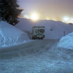 - - (Alexis Szyd.) Tags: analog analogue argentique alexisszyd analogphotography mediumformat moyenformat mittelformat squareformat 6x6 120film kodakportra160 zenzabronica s2a c41 newtopographics snow camping night longexposure