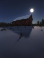 February cold night (petrisalonen) Tags: winter finland night photography nature barn moon stars nightsky freezing shadows trees blue white landscape