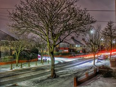 Wintry light trails!😁📷😁 (LeanneHall3 :-)) Tags: lighttrails longexposure street streetlamps lights snow winter houses tyretracks trees treetrunk branches night nightshot nightphotography landscape canon 1300d