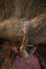 super sloupper (sami kuosmanen) Tags: travel hampi asia india intia karnataka kiipeily rock rockclimbing bouldering boulder boulderointi climbing colorful creative luonto light people shirtless man mies sport closeup long hair expression emotion