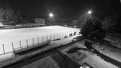 From the window (TizianoFoto) Tags: snow neve trentino trento blackwhite bn bw blackandwhite city città soccerfield campodacalcio sera luci italia italy