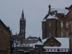 Gables, roofs, and a see-through tower (Wider World) Tags: scotland glasgow westend university westerninfirmary snow roof tower spire crowstepped gable sandstone