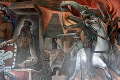 The invasion of the barbarians (Chemose) Tags: mexico mexique yucatán yucatan valladolid palaciomunicipal painting peinture mural conquistadores coquistadors hdr canon eos 7d mars march