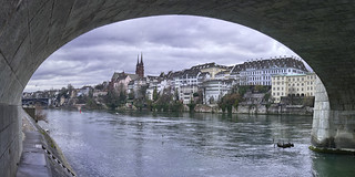 Basel, the left bank from under the Mittlere Brücke