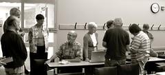 A Mac Meeting (Melinda Stuart) Tags: olli asheville computers mac apple seniors learning school seniorcollege group sig monochrome hooks clock class college