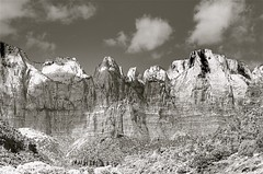 Zion National Park - October (Herculeus.) Tags: bw butte cliffs clouds country cumulusclouds6kfeet day erosion fall geology landscape ledge mountains nikonafsvrnikkor70300mmf45 nikond600 oct outdoor outdoors outside rock rockwall ut zionnp