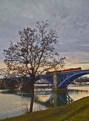 Red train and blue bridge (Matjaž Skrinar) Tags: 250v10f