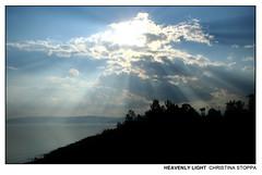 Heavenly Light (Kurokami) Tags: nazareth israel capernaum national park pilgrimage religion christ christian sea galilee pilgrim heavenly light sun beam beams ray rays cloud clouds silhouette greek orthodox monastery