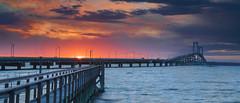 Pell bridge panorama (marion faria) Tags: pellbridge newportbridge rhodeisland newport seascape newengland bridge water bay longexposure sunset canon iv canon5dmarkiv cloudsstormssunsetssunrises