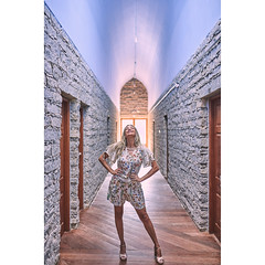 Solana (alcure85) Tags: ifttt 500px portraits smiling railing lady trend 20s hands pockets hand pocket twenties frock positive 2025 2530 brunette architeture stone arch beam light hdr