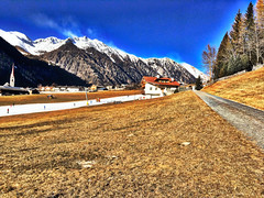 A Street In The Midde Of The Mountains (antoramp) Tags: strada sentiero viale inverno winter neve montagna landscape valles fields street mountains hdr