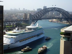 Sydney Harbour. The Bridge and the liner the Voyager of the Seas. (denisbin) Tags: sydney governmenthouse shop bridge harbour sydneyharbour liner ship wickhamhouse ceiling voyager seas voyageroftheseas