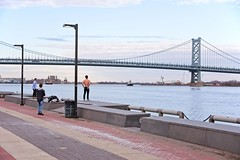 Bare Chest Before a Bridge (brev99) Tags: philadelphia delawareriver d610 tamron28300xrdiif benjaminfranklinbridge people posing model ononesoftware on1photoraw2018 cameracorrectionfilter