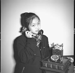 Answer - Film Hasselblad (Photo Alan) Tags: portrait film filmcamera filmscan film120 filmhasselblad hasselblad503cw 6x6 blackwhite blackandwhite people telephone indoor