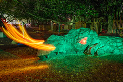 Drachen Fire (stephenk1977) Tags: australia queensland qld brisbane nikon d3300 light painting art photography night fire dragon flame blade blading ledlenserp7qc brushes newfarmpark playground sculpture