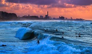 Surfing at sunset - Tel-Aviv beach - Follow me on Instagram:  @lior_leibler22