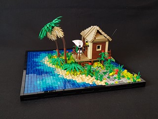 Tropical Holiday Bungalow MOC.  Path to the door.
