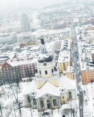 "(#droneview) | Katarina kyrka (#Church of Catherine) is one of the major churches in central #Stockholm. The original building was constructed 1656–1695. It has been rebuilt twice after being destroyed by fires, the second time during the 1990s. | #drone (""guerrilla"" strategy) Tags: ifttt instagram droneview 