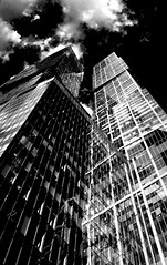 Two towers Moscow#MoscowCity (NO PHOTOGRAPHER) Tags: aboutlove analogy freestyle fineart blackandwhite blackandwhitephoto monochrome monocromephotography bnw bw hochhaus gebäude cityscape skyline detail construction architecture architectural urban building outdoor iphoneography iphonephotography exterier russia moscowcity technoart sky clouds moscowphotography blue skycraper iphone 6s panorama panoramatic москва россия архитектура строительство река мост