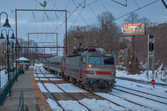 SEPTA AEM-7 #2303 @ Woodbourne, PA (Darryl Rule's Photography) Tags: 2018 aem7 buckscounty csx catenary dark diesel diesels electric express freight freightcar freighttrain freighttrains ge inbound local march mixedfreight outbound pa passenger passengertrain pennsylvania q300 railroad railroads septa silverliner silverlineriv silverliners snow snowy train trains westtrentonline winter woodbourne