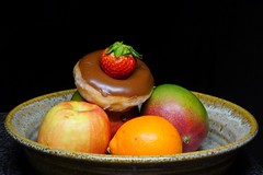 I don't know why! (kmetz12.km) Tags: food donut why weird fruit bowl fun random apple orange stilllife sonyalpha sony keepthis usethisphoto forfree