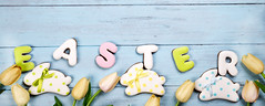 Sweets for celebrate Easter. Gingerbread in shape of easter bunny and letter Easter. (lyule4ik) Tags: easter background celebration decoration header banner blockchain youtube 189 decorative egg food holiday season spring tradition wood wooden happy cookies concept design natural rustic springtime texture traditional biscuits card celebrate closeup eggs filter flower wishes toned sprinkles white colored letter brown nest frosting bright homemade basket horizontal april shortcrust