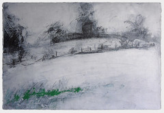 Towards Boreas Hill from Auster Grange (johnhumber48) Tags: agriculturallandscape drawing eastyorkshire fields graphite graphitedrawing gesso holderness keyingham landscape landscapedrawing oilbar ottringham sunkisland trees