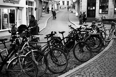 Bicycle city (Leica M6) (stefankamert) Tags: stefankamert street bicycle city analog film grain leica m6 leicam6 rangefinder kodak trix blackandwhite blackwhite noiretblanc noir people dof tübingen