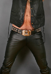 Leather Up ! (Cowboy Tommy) Tags: black leather vest biker skull buckle belt spikes stud studs bulge leatherpants beard hairy fur furry pubes pubichair treasuretrail hot sex sexy crotch manly fist knuckles