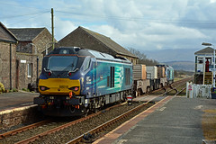 68016 6C51 Drigg (British Rail 1980s and 1990s) Tags: train rail railway loco locomotive lmr londonmidlandregion mainline livery liveried traction freight railfreight station nuclear flasks bnfl sellafield drs directrailservices 68 class68 cumbria 6c51 superb fearless 68016 68025 cumbriancoast