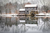 Midway Village Mill House (Cathy Midtsem) Tags: reflection midwayvillage rockford water mill house snow winter pond geese