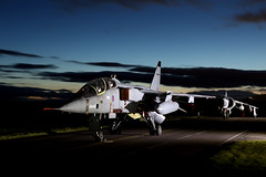 Jaguar and Harrier lined up (Andrew Edkins) Tags: jaguar jag harrier rafcosford thresholdaero fighter raf airframe geotagged canon light sky airbase march 2018 spring night dark dusk photoshoot aviaiton shropshire england uk