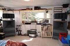 Current den setup (Jon Archibald) Tags: analogue analog 1b bryston sl1200 technics qsc1400 prosound stereo audio vintage theater speakers lansing a7 a5 vott theatre voice altec