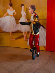 The Hand Signal (Steve Taylor (Photography)) Tags: ballerina piper unicycle art picture mural sculpture black white yellow red brown boy lad women ladies asia singapore trickeyemuseum