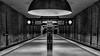 SOS (Leipzig_trifft_Wien) Tags: münchen bayern deutschland architecture monochrome blackandwhite black white contrast light shadow modern contemporary station metro underground platform