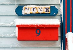9 (Karen_Chappell) Tags: 9 nine mail mailbox post red blue house city urban downtown stjohns jellybeanrow snow winter number paint painte dwood wooden clapboard canada newfoundland nfld eastcoast atlanticcanada avalonpeninsula home