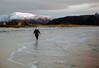 Margret is strolling on the beach (Alf-Haakon Harlem) Tags: bremanger grotle grotlesanden kveld mars2018 solnedgang sjø margret mywife snø