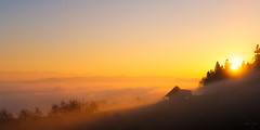 mystical sunset (uhu's pics) Tags: switzerland schweiz emmental mystical orange sky himmel mist fog nebel sunset sonnenuntergang sun sonne xpro fujinon fujifilm fuji silhouette