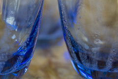Water glasses (Karon Elliott Edleson) Tags: glasses blue prettyinblue 7dwf bubbles glass creativetabletopphotography