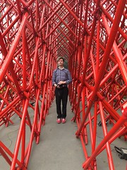 Josh in the red maze (olive witch) Tags: abeerhoque art bangladesh bd detail dhaka feb18 february installation male outdoors painting pattern portrait