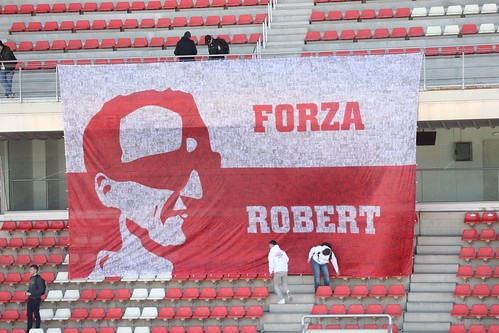 A Robert Kubica banner at Formula One Winter Testing 2018
