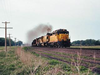 Union Pacific GP-30 East of North Platte Neb ,1976