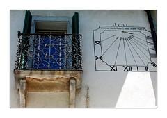 daylight saving? (overthemoon) Tags: switzerland valais martigny sundial window balcony cadransolaire sunlight inthewrongplace lettering latin wroughtiron ferforgé 1731 explore 78