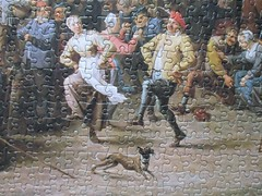 Peasants feasting and dancing (detail) (pefkosmad) Tags: jigsaw puzzle hobby leisure pastime falcon vintage theroyalcollection incomplete used secondhand missingpieces peasantsfeastinganddancingoutsideatavern davidtenierstheyounger art fineart painting flemish