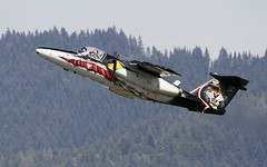 Austrian Saab 105OE climbing after departure from LOXZ (stecker.rene) Tags: saab 105oe saab105oe saab105 sk60 austrianairforce austria österreich departure gd14 tiger natotigers tigermeet forest hill trainer military jet fighterjet pilot takeoff to climbing climb fuselage painting anniversary paint scheme flying flypast aircraft aerialdisplay flyingdisplay airshow zeltweg fliegerhorst hinterstoisser loxz airpower airpower2016 airpower16 styria steiermark canon eos7d tamron 150600mm