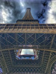 Paris France - Eiffel Tower - View upwards (Onasill ~ Bill Badzo) Tags: eiffel tower paris france europe historic nrhp landmark monument heritage attraction site mustsee tourist travel downtown wrought iron onasil champ de mars gustav design 1889 world fair cultural icon iconic structure visited 81 stories visit historical history iphone photography